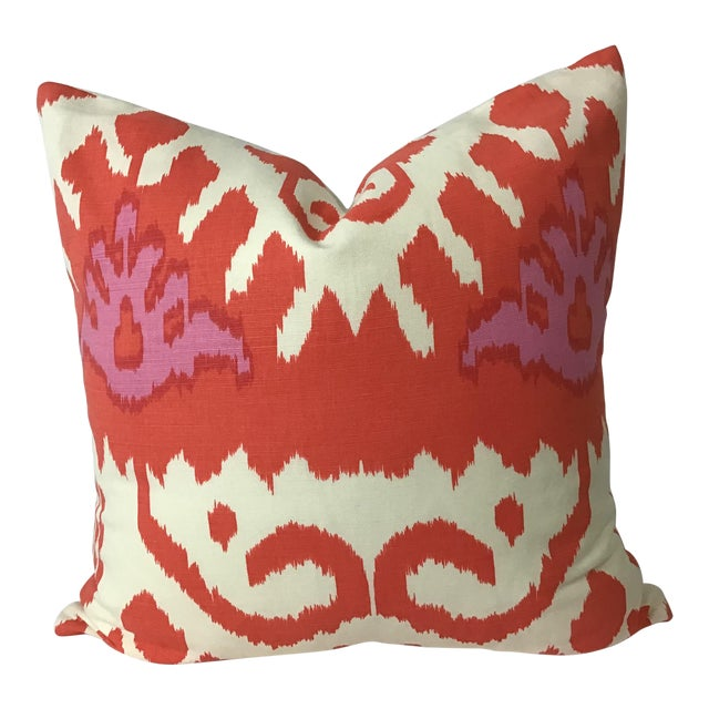 """Boho Chic 20""""x20"""" Designers Guild Cotton Printed Ikat Pillow in Orange and Pink For Sale"""