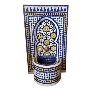 Blue, White, & Yellow Moroccan Mosaic Tile Fountain For Sale
