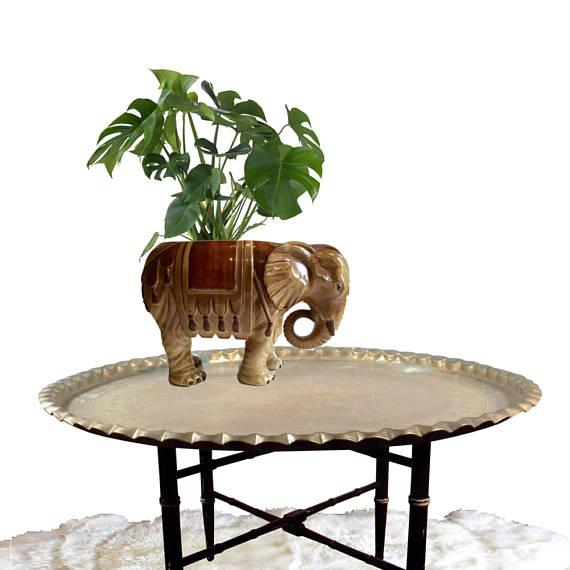 Fitz & Floyd Mid-Century Modern India Elephant Ceramic Planter - Image 2 of 8