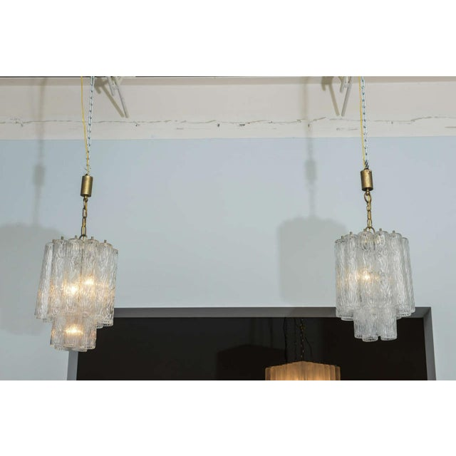 """Transparent Pair of Italian Modern Venini """"Tronchi"""" Chandeliers For Sale - Image 8 of 8"""
