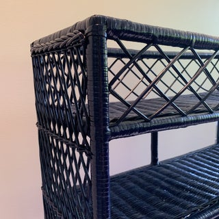 1970s Shabby Chic Rich Navy Woven Wicker Shelf Preview
