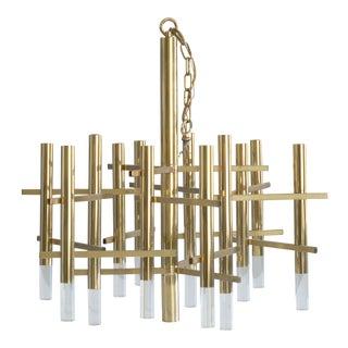 Vintage Gaetano Sciolari Italian Brass Lucite Glam Chandelier