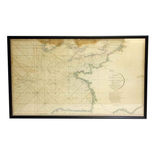 Vintage Black Framed British Channel Map For Sale