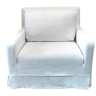 Restoration Hardware White Belgian Linen Slipcover Lounge Chair For Sale