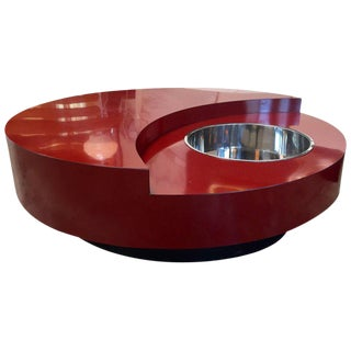 Iconic Round Red Coffee Table by Willy Rizzo, Italy, 1970s For Sale