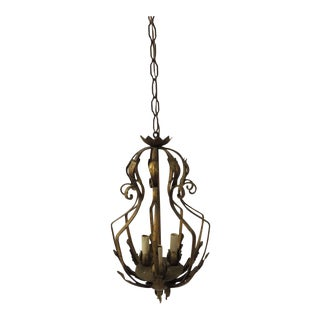 Vintage Iron and Gold Leaf Forged Hanging Lantern For Sale