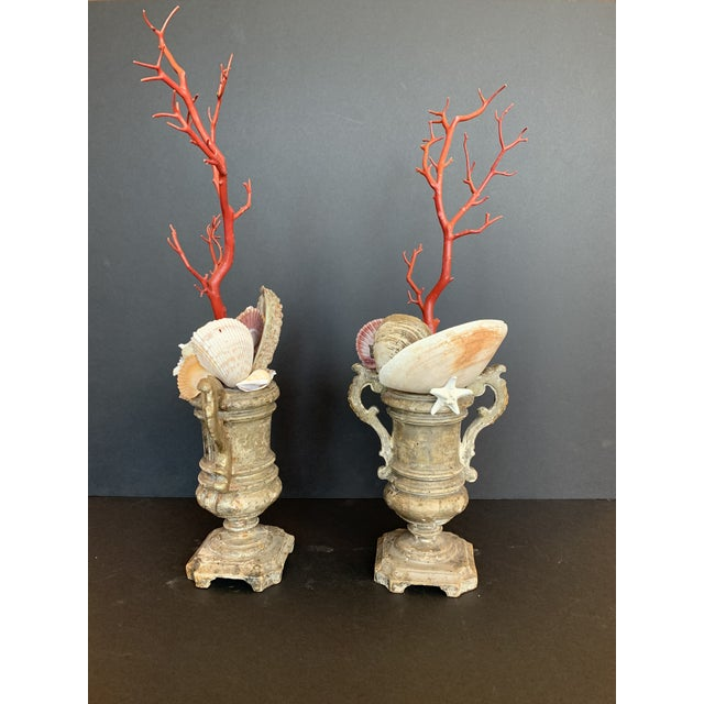 Baroque-Style Carved Silver Gilt Urns With Shell & Faux Coral Composition - a Pair For Sale - Image 9 of 12