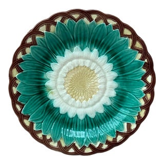 19th Century Majolica Sunflower Plate Wedgwood For Sale