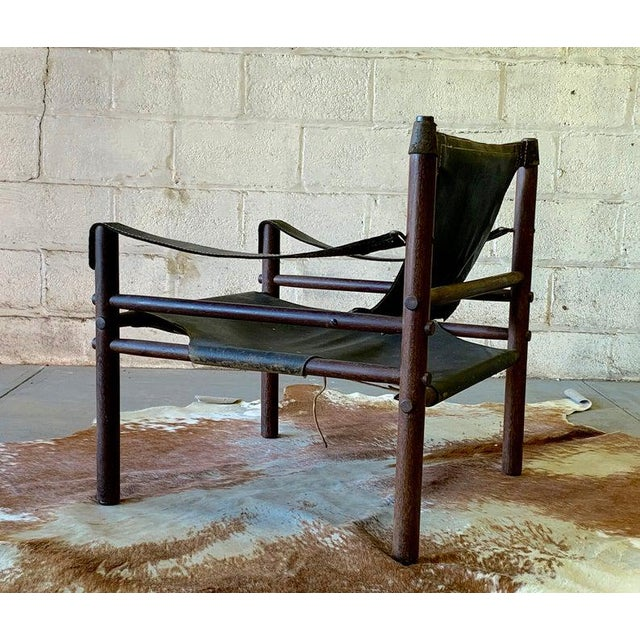 Authentic + Rare Mid Century Modern Leather Safari Chair by Arne Norell, Made in Sweden For Sale - Image 9 of 11