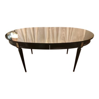 Louis XVI Style Black Lacquered Dining Table For Sale