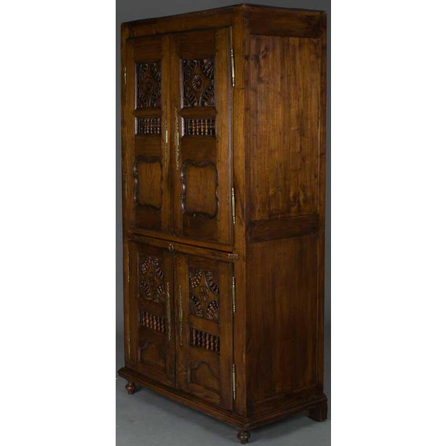 19th Century Jacobean Carved Oak Wardrobe For Sale - Image 9 of 12