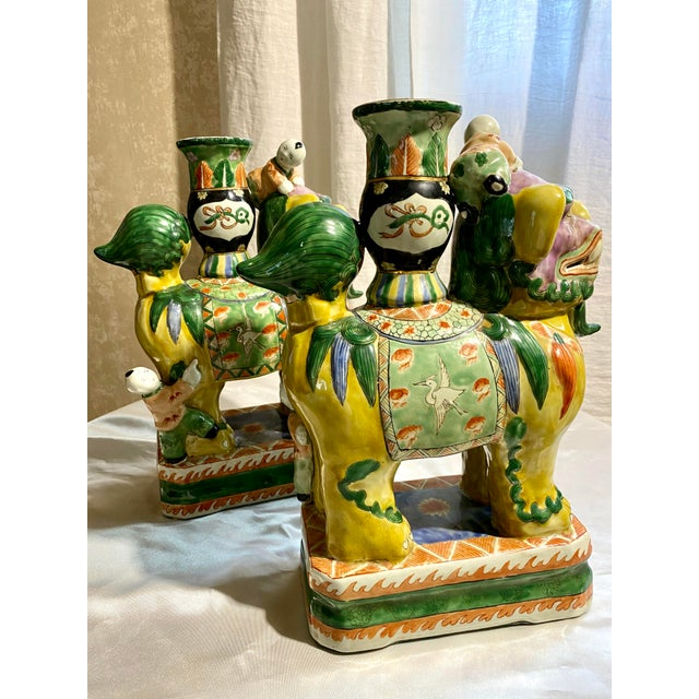 Canary Yellow Chinese Foo Dog Candlesticks - a Pair For Sale - Image 8 of 13