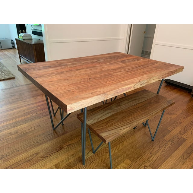Terrific Rustic Cb2 Dylan Dining Table And Bench Set 2 Pieces Caraccident5 Cool Chair Designs And Ideas Caraccident5Info