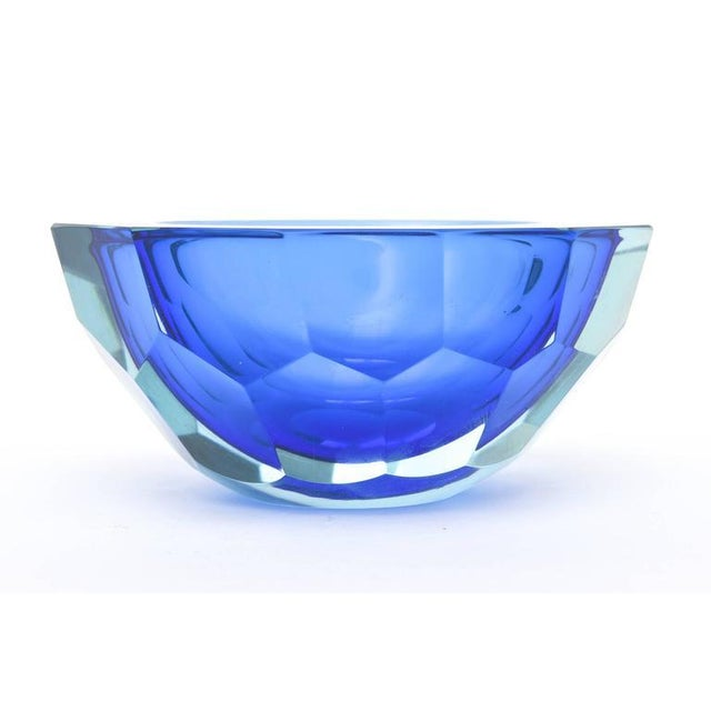 Italian Murano Sommerso Diamond Faceted Flat Cut Polished Glass Geode Bowl - Image 3 of 9