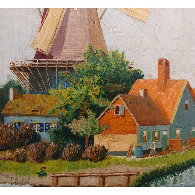 """1910s C. Busch """"Dutch Windmill"""" Oil Painting For Sale - Image 5 of 10"""