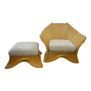 Ribbon Rattan Lounge Chair & Ottoman Set - A Pair