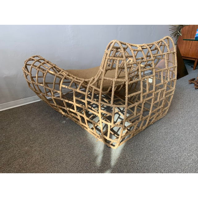 1970s Vintage Marine Rope Club Chairs and Ottomans - 4 Pieces For Sale - Image 10 of 12