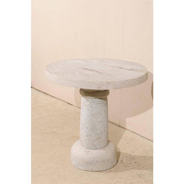 Early 21st Century Round Granite Contemporary Indoor/Outdoor Pedestal Table, Handmade For Sale - Image 5 of 8