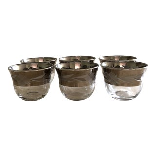Arabic/Turkish White Gold Plated Glass Coffee Cups - Set of 6 For Sale