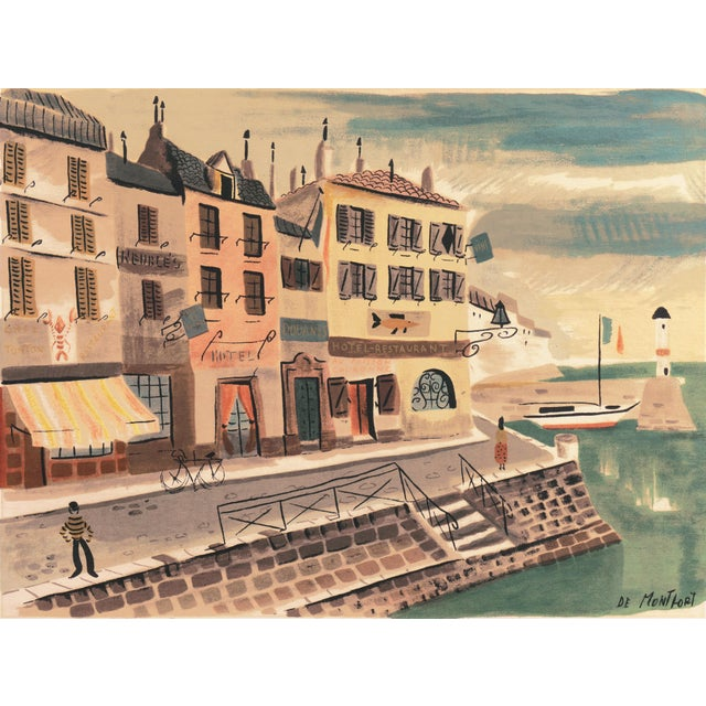 Tan 'Breton Village With Lighthouse' by Charles De Montfort, Mid-Century French Post-Impressionist For Sale - Image 8 of 8