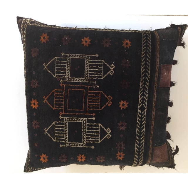1880s Handwoven Afghan Baluch Saddle Tribal Bag, Large Floor Pillow For Sale - Image 13 of 13