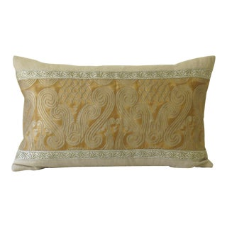 Contemporary Metallic & Linen Fortuny Pillow