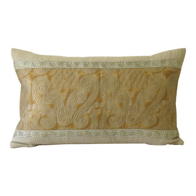 Contemporary Metallic & Linen Fortuny Pillow For Sale