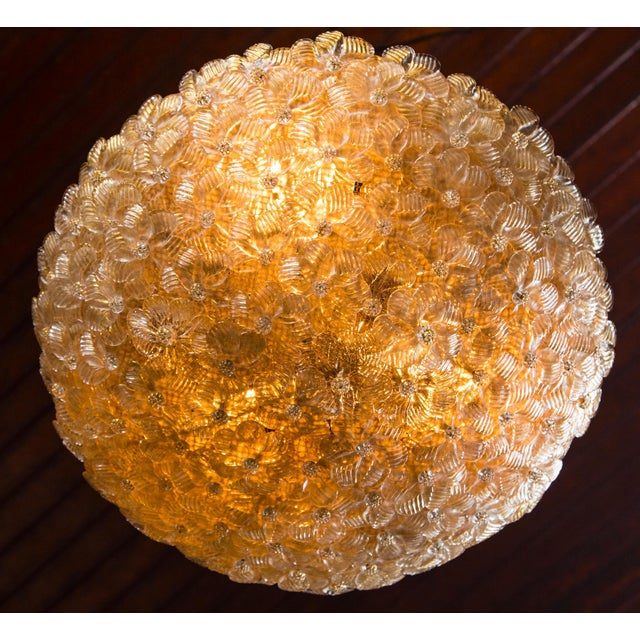 Italian Italian Barovier & Toso Murano Glass Surface Mount Ceiling Chandelier/Light For Sale - Image 3 of 11
