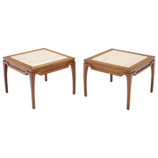 Pair of Square Small End Tables Stands with Marble Tops For Sale