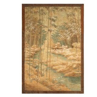 1900s Antique Landscape Beige-Brown and Blue Floral Silk Tapestry For Sale