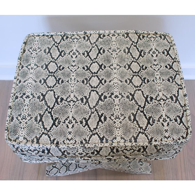 Billy Baldwin Style Python Leather X-Bench Ottoman Footstool For Sale - Image 9 of 13
