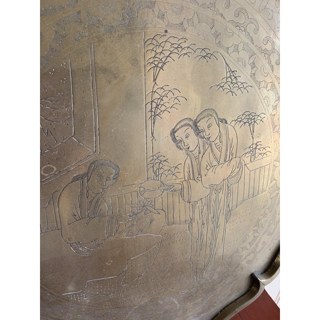 Midcentury Asian Chinoiserie Brass Etched Tray For Sale - Image 4 of 13