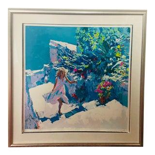 "1970s ""Taormina"" Nicola Simbari Limited Edition Serigraph Print, Framed For Sale"