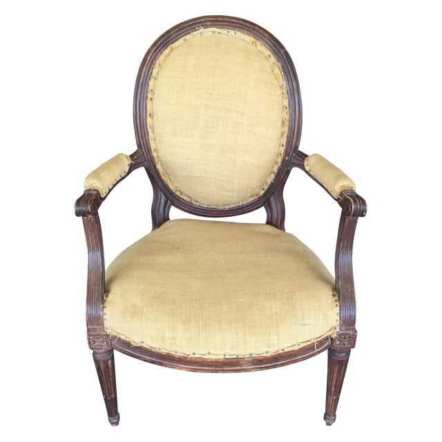 Antique Burlap Upholstered Chair - Image 1 of 8
