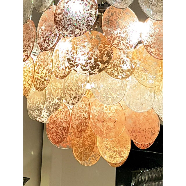 Large Pyramidal Vistosi Murano gold/silver/copper leaf discs mid-century modern Chandelier For Sale In Dallas - Image 6 of 8