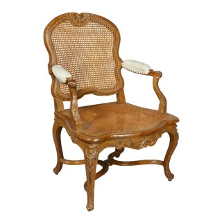 Antique Regence Oak Fauteuil Chair For Sale