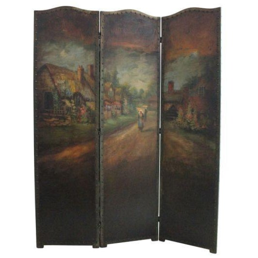 Roman Art Screen Company Oil on Canvas Room Screen For Sale