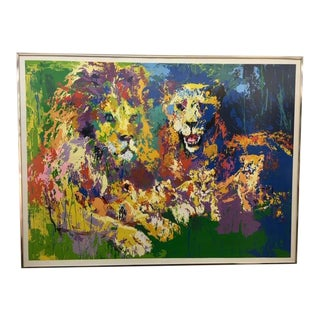 """1974 """"Lion Family"""" Serigraph by LeRoy Neiman For Sale"""