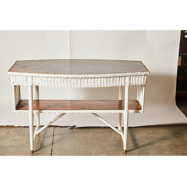 1920s 1920s White Wicker Table For Sale - Image 5 of 6