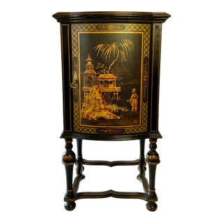 English Chinoiserie Hand Painted Gilt Bedside Cabinet, 1920s For Sale