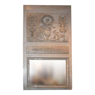 19th C. Painted Trumeau Mirror