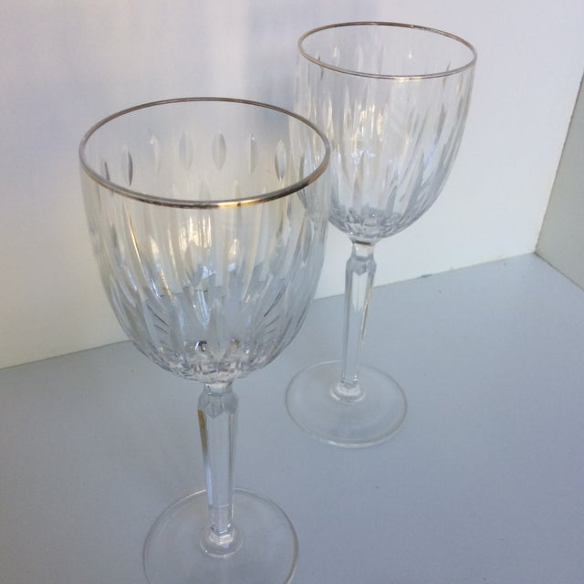 Cut Crystal Gold Rim Wine Glasses - a Pair For Sale - Image 9 of 13