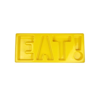 1970s Contemporary Yellow Molded Plastic Eat! Sign For Sale