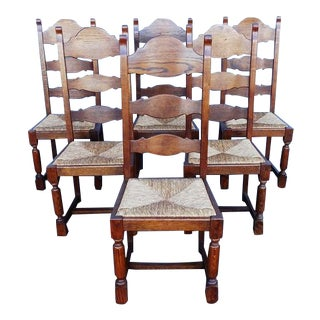 High Ladder Back French Cane Rush Dining Chairs - Set of 6
