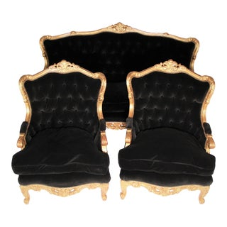 French Giltwood Louis XVI Style Velvet Back Sofa Set - 3 Pieces For Sale