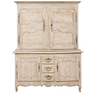 Tall French 19th Century Carved Wood Two-Piece Cabinet in Cream Wash For Sale