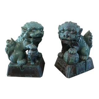 Cast Terra Cotta Glazed Chinese Foo Dog Lions - Large