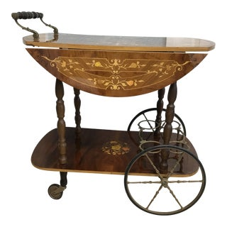 Vintage Italian Marquetry Wood Bar Cart For Sale