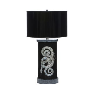 Eglomise Serpent Table Lamps S/Pr For Sale
