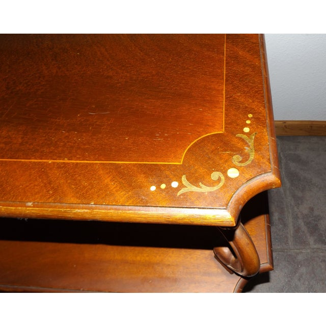 Large Mid-Century End Table With Decorative Inlay - Image 4 of 8